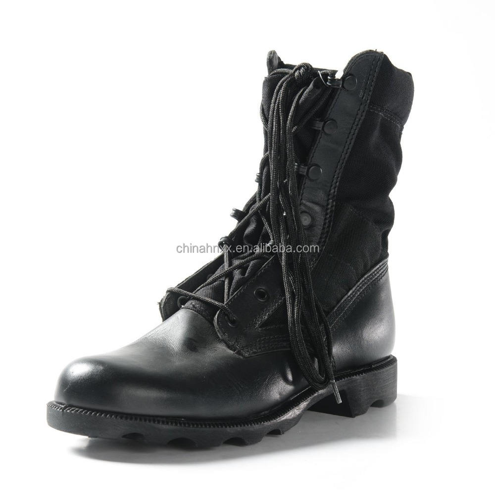 military men lace long leather canvas boots