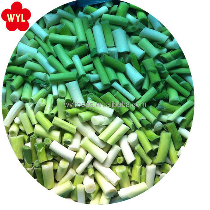 Wholesale Price IQF Vegetables Frozen Green Garlic Cut