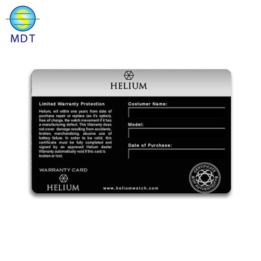Wholesale plastic pvc warranty card with logo