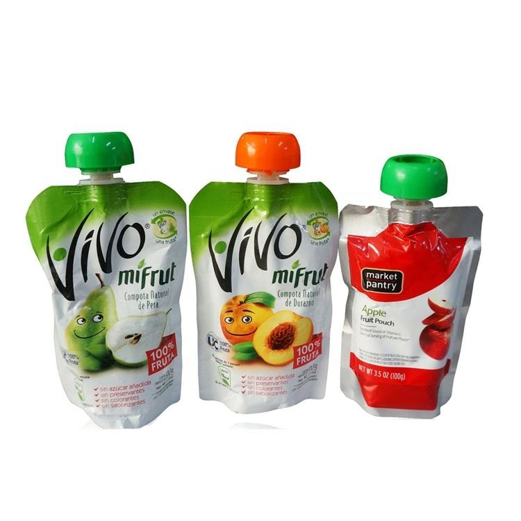 Customized Reusable Juice Drink Food Packaging Bag/ Liquid Stand up Spout Pouch with Top Spout