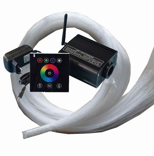 DC12V RGBW 16W LED fiber optic light engine + 2.4G touch controller + 500pcs 2m 0.75mm end glow fiber optic cable