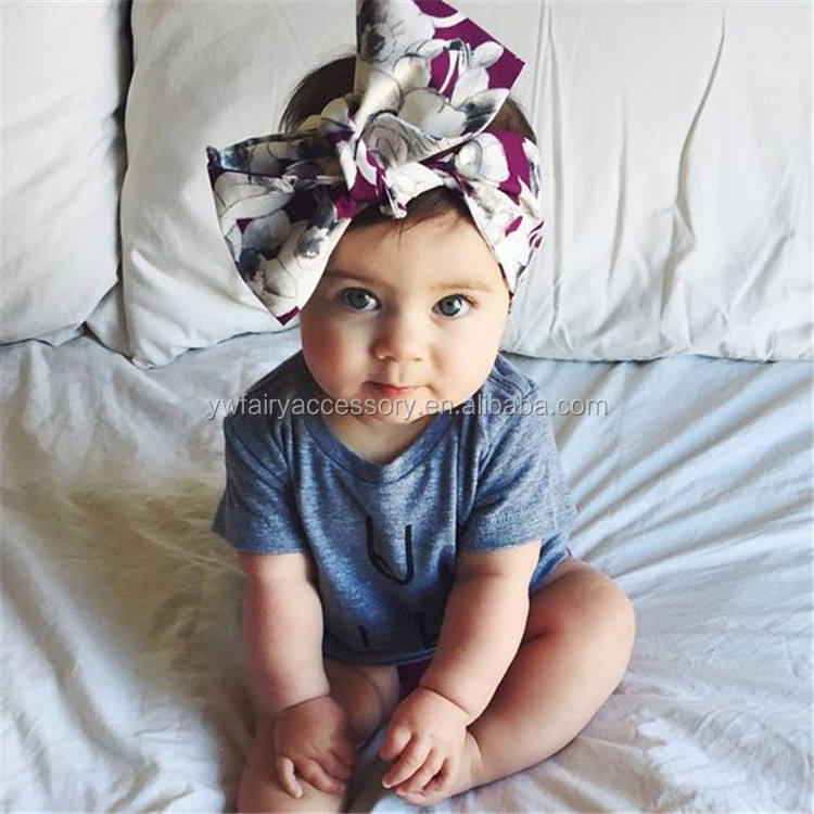 Fashion korean style baby girls hair accessories fancy fruit pattern big bow knot headbands