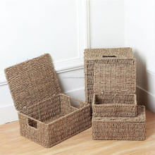 Natural Seagrass Storage Basket With Lid and Handles Sundries Storage Basket