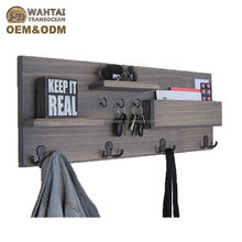 Wall Mounted Natural Wood Entryway Coat Racks Key Hooks & MaKeep your il Holder Shelves Solid wood wardrobe with floating floor