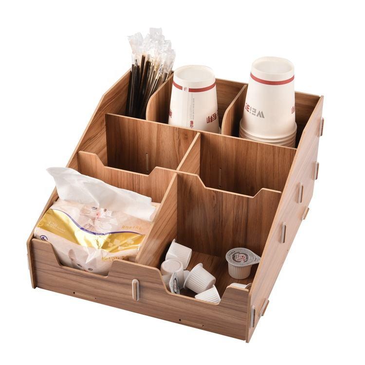 Custom multi-function coffee bar condiment holder organizer paper towel acrylic storage case wood paper cup organizer