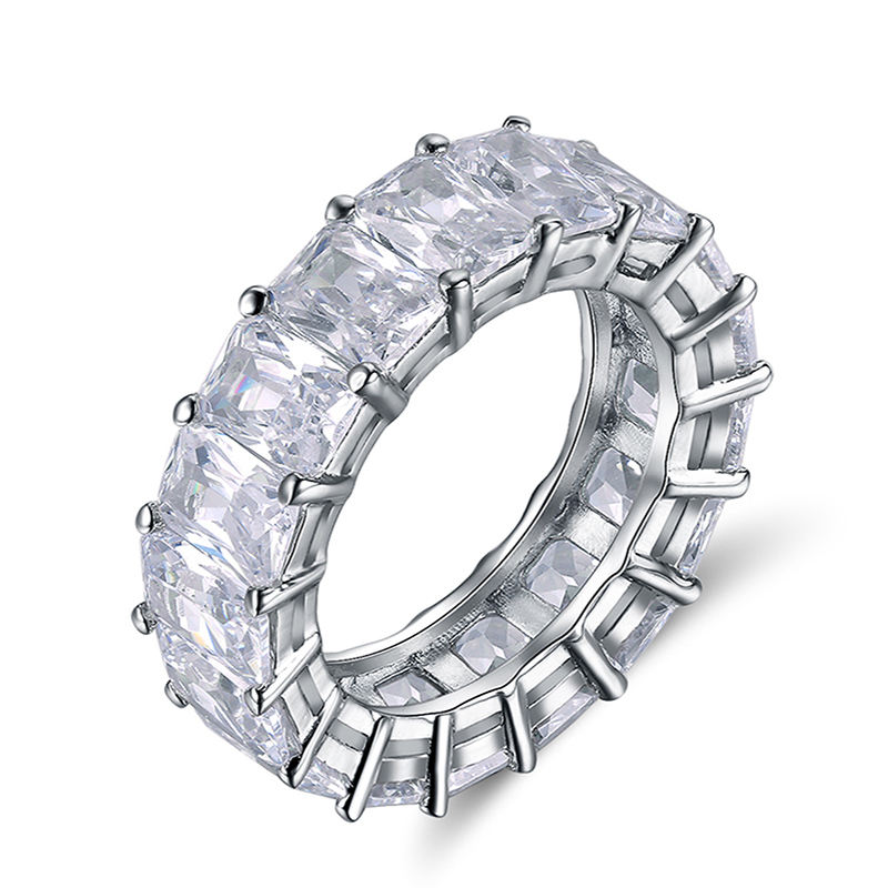 RINNTIN OR146 Hot Selling Wedding Band Women Jewelry Wholesale Shiny Baguette Cubic Zirconia Eternity Diamond Rings