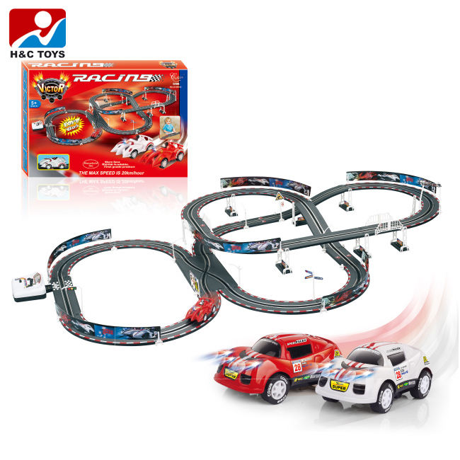 High quality diy race track electric slot car racing set with double loop track HC395615