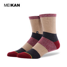 MEIKAN Classical Melange Unisex Anti Slip Sports Socks Tube Jacquard Winter Half Terry Stylish Striped pattern Socks for men