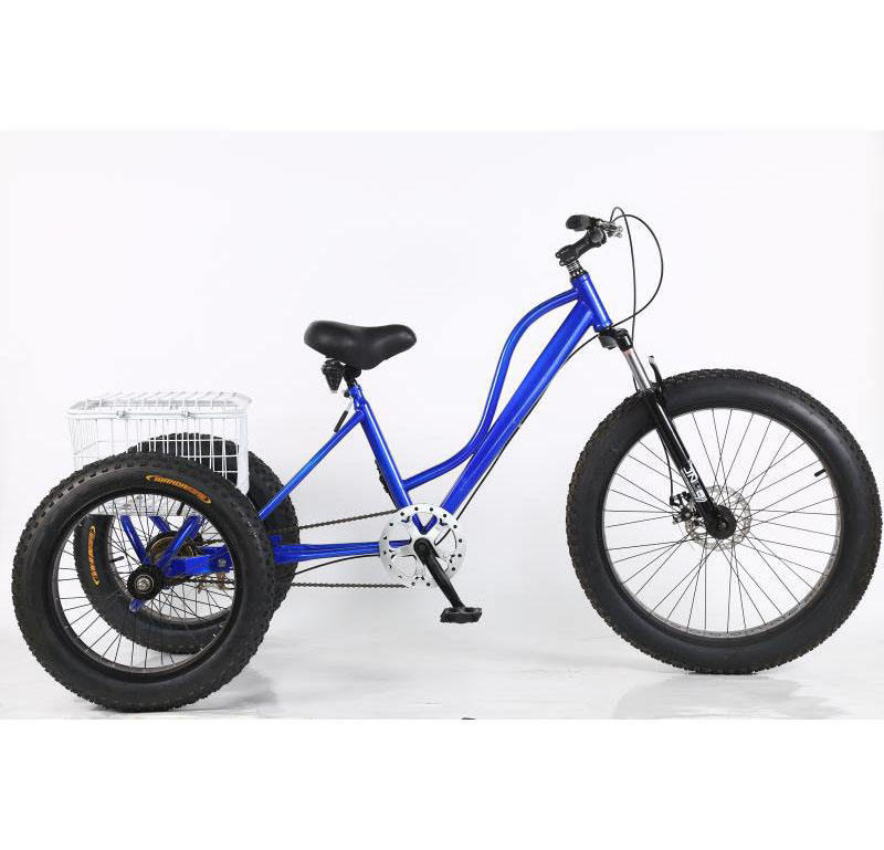 "24"" Hi-carbon steel 3 wheel fat tire bicycle with basket/ adult cargo cheap tricycle /China factory hot selling food cart"