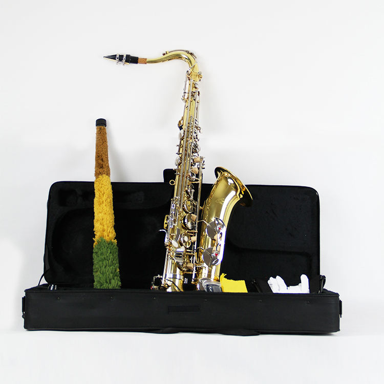 Tenor Saxophone High F Brass Sax Beginners Kit, Mouthpiece, Neck Strap, Cleaning Cloth Rod, Hard Carrying Case