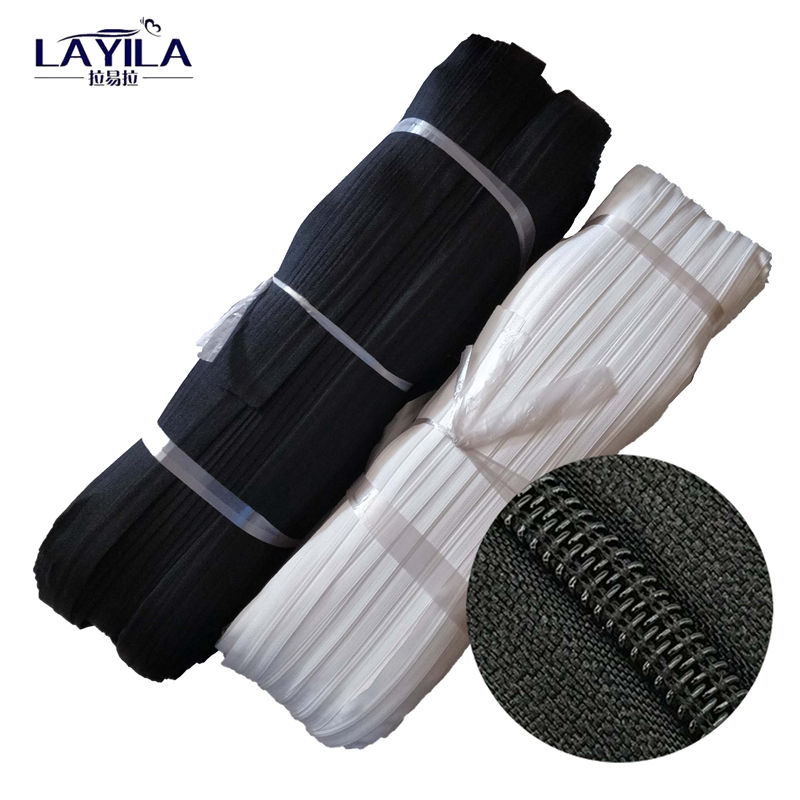 Provide high quality multi color long chain nylon zipper in roll on sale