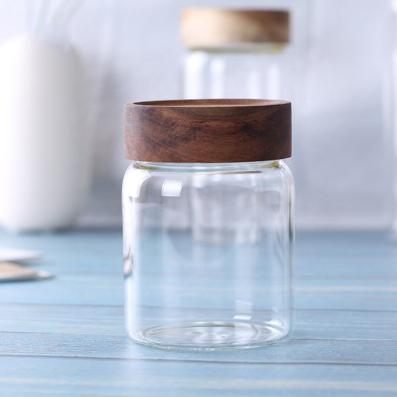 Hot new products glass jar wooden lid, bamboo lid glass jar