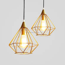 Industrial Chandelier Pendant Light Retro Ceiling Lamp With Gold Metal Cage