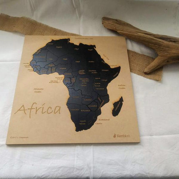 Africa map puzzle, educational puzzle for kids and adults, wall art