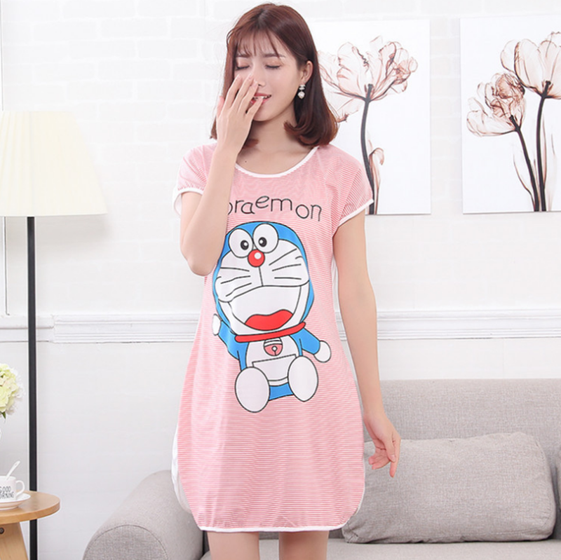 Wholesale Cheap Woman Cotton Nightdress Sleepwear Ladies Loose Nightgown Pajamas