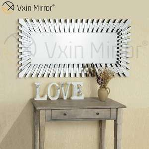 Moderna sala de WXM-1041Home decoración aplastado diamante rectángulo espejo de pared