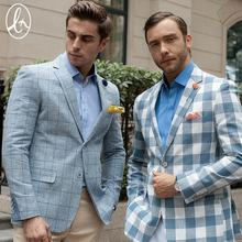 Order High quality flat collar plaid blazer casual men