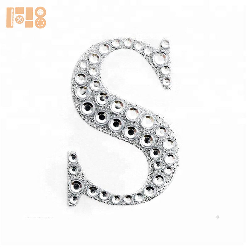 glitter acrylic adhesive rhinestone alphabet letter S stickers for car home decor