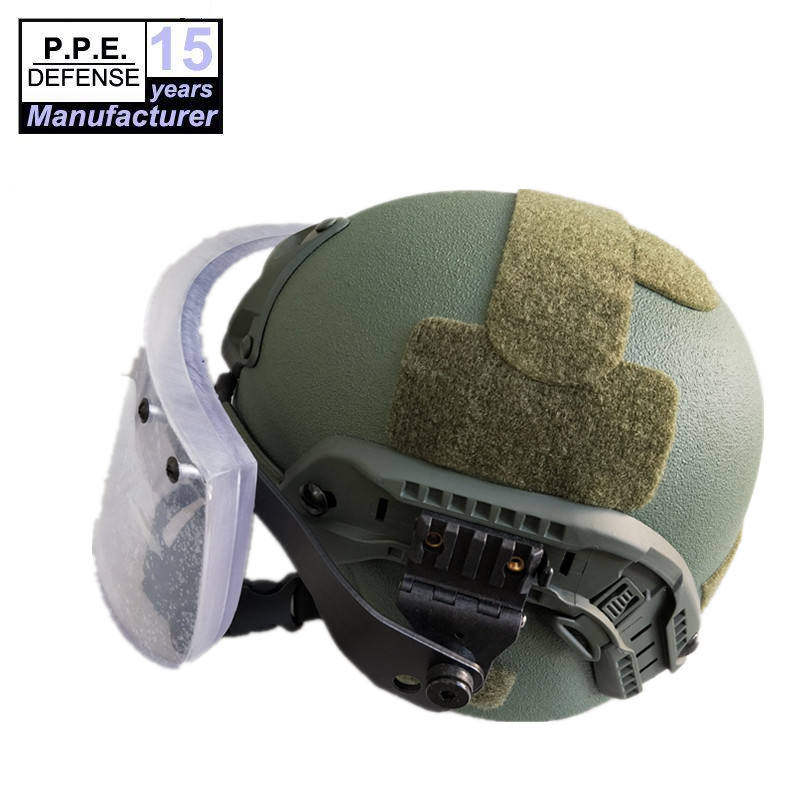 NIJ IIIA 44 tested military MICH bulletproof helmet with ballistic visor