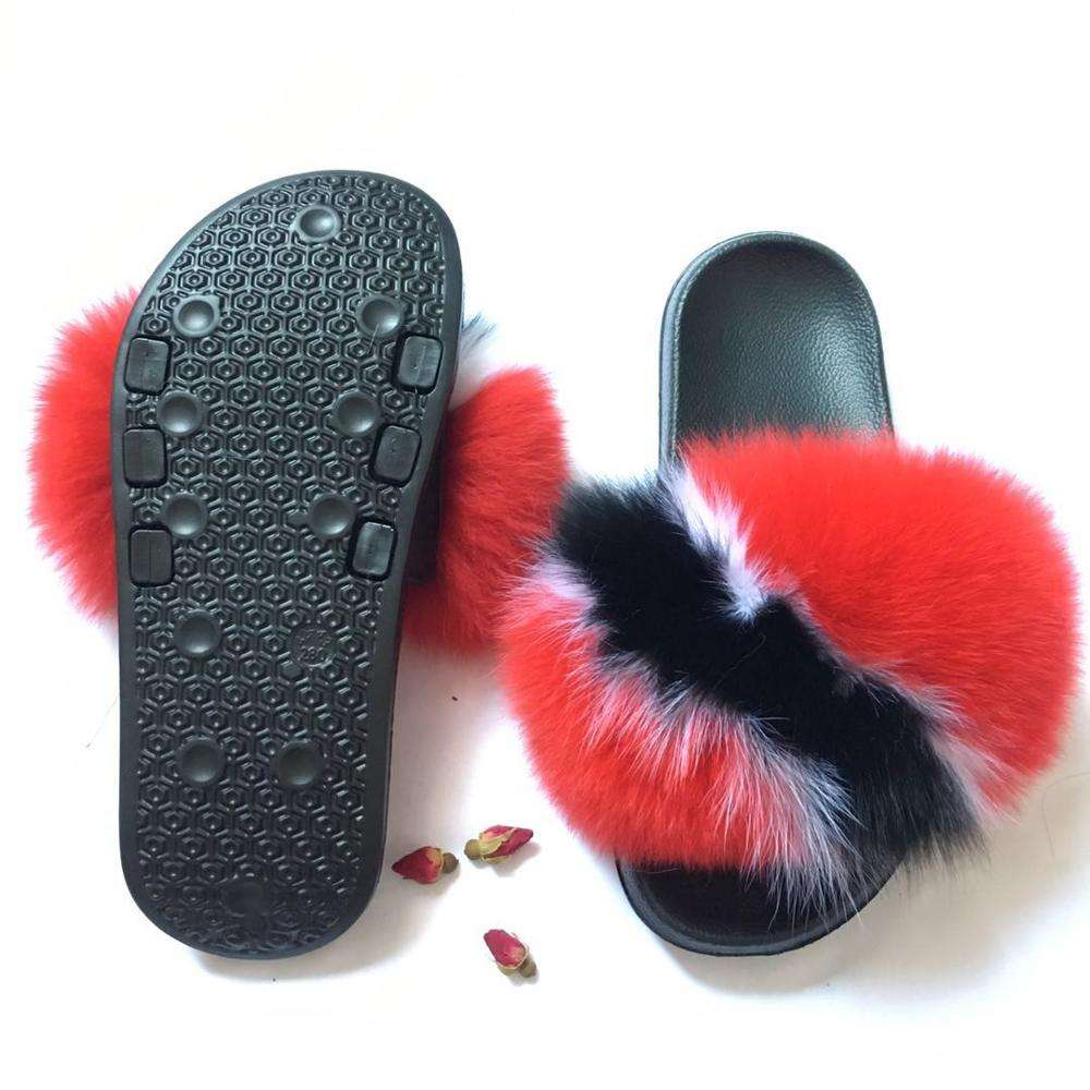 Cheap New Design Luxury women fox fur Slides flag pattern multiple color natural fur slippers