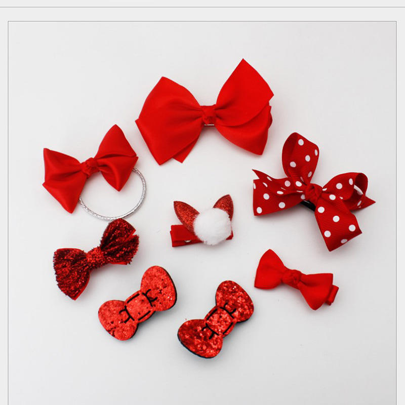 2018 New Design kids lovely bow knot baby cute hot hairclip fan children hair accessory assorted 8 piece a set hairpin HC007