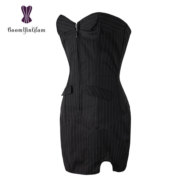 Zip Up Body Shape Stripe Office Ladies' Sexy Outfit Clubwear Costumes Women's Bustiers And Corsets With Skirt