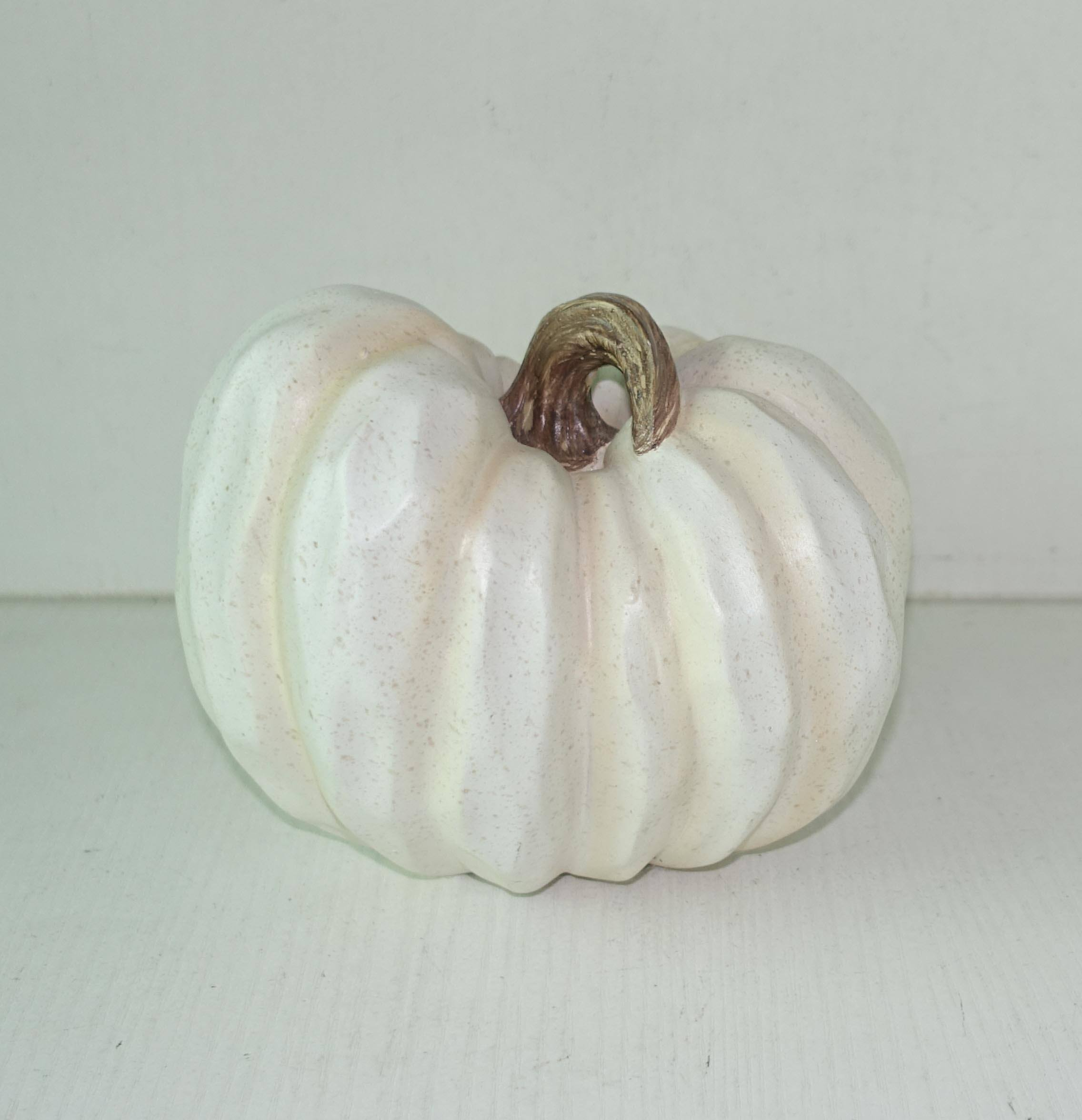6 Inch Tabletop Decoration Resin Craft White Fall Pumpkin