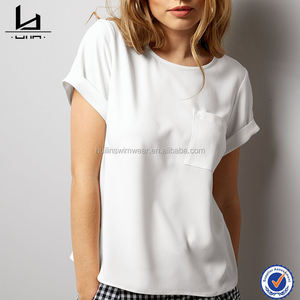 high quality fashion women short roll sleeves promotional tshirts with a front pocket