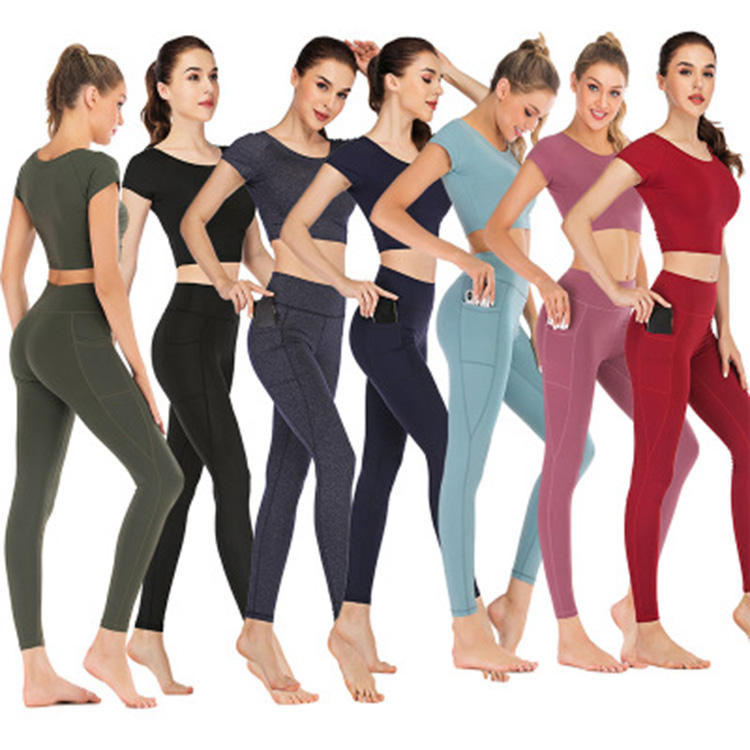 OEM wholesale high waist yoga wear fitness leggings set custom women breathable solid color yoga pants leggins with pockets