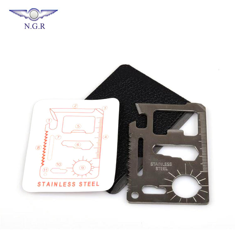 Factory directly sell 11- in- 1 Outdoor credit card survival multi tool