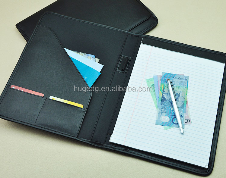 High quality eco-friendly A4 size pen holder leather file folder with legal notepad