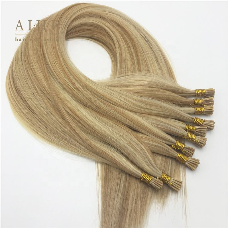 Wholesale cheap double drawn russian blonde remy real human keratin prebonded cold fusion i tip human hair extensions for sale