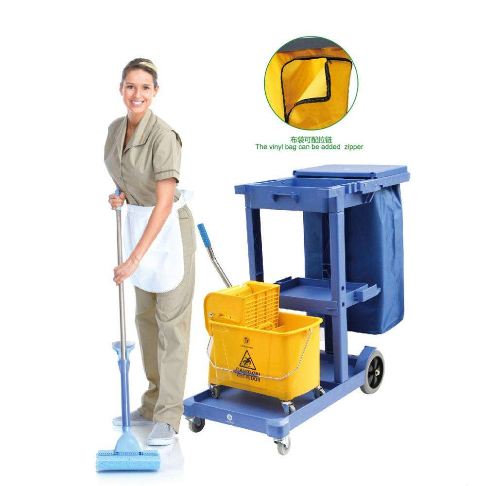 Wanhui Black/Gray/Blue Color janitorial cleaning trolley