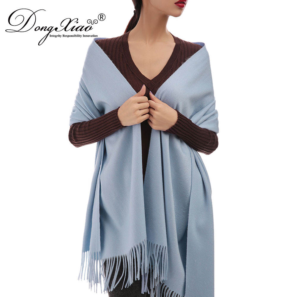2018 Spring Super Quality Cashmere Knitted Light Color Mink Flamenco Shawl