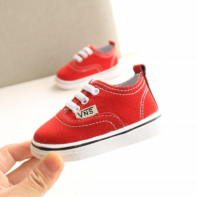 Baby Boys And Girls Canvas Sneakers Red Pink Black Toddler Shoes Infant Shoes Newborn Rubber Bottom Shoes First Walk Sneakers