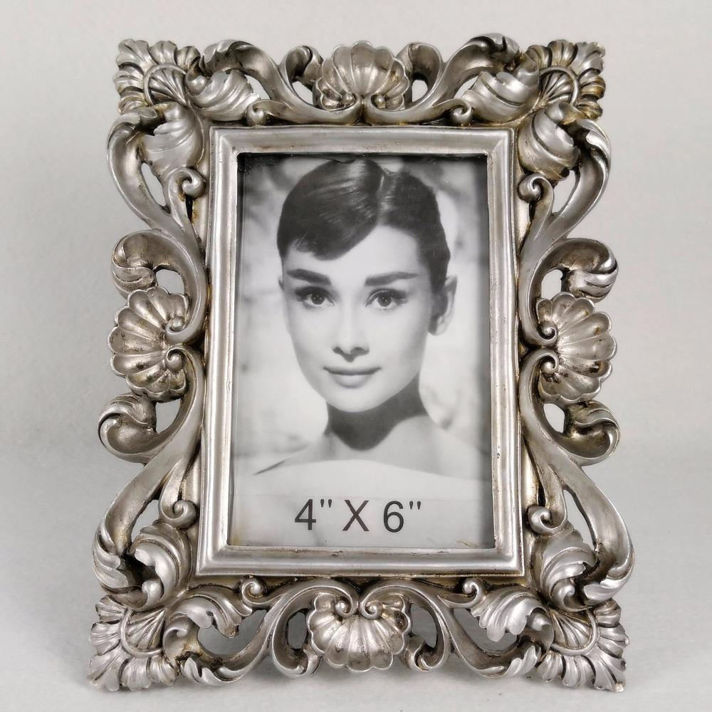 classical decorate antique silver resin frame with photo picture
