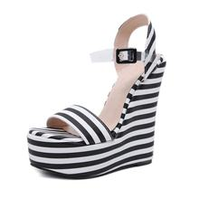 Wholesale price women heel wedge 2018 summer new model ladies sandals girls ankle strap shoes