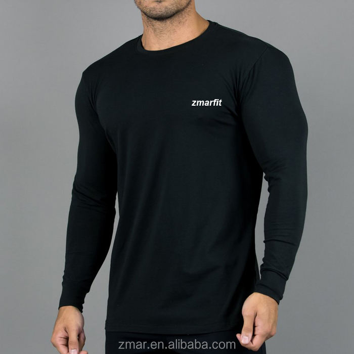 CHA037 95% Cotton 5% Elastane Men's Long Sleeve Fitted T- shirt Elongated Gym Muscle Fit T Shirt manufacturer