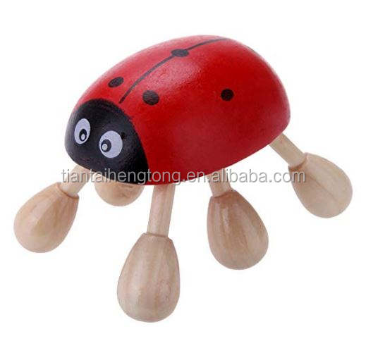 Ladybug Six Feet wooden Massager Massage head Beetle Red