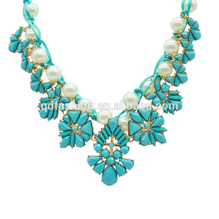 Wholesale Inventory Stock Custom Gold Beads Blue Sea Glass Crystal American Diamond Bold Jewellery Necklace Jewelry