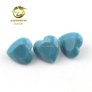 wholesale blue heart shape 7*7mm gemstone , good looking bowlder glass gemstone materials for jewelry