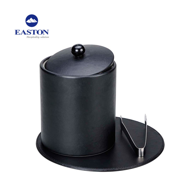 Standard Hotel Leather Single Layer Design Stainless Steel Insert Black/ Ice Bucket with Lid
