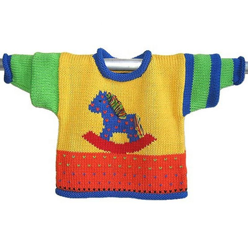 Rocking Horse Cotton Handloomed Roll Edges children sweater Kids Sweater