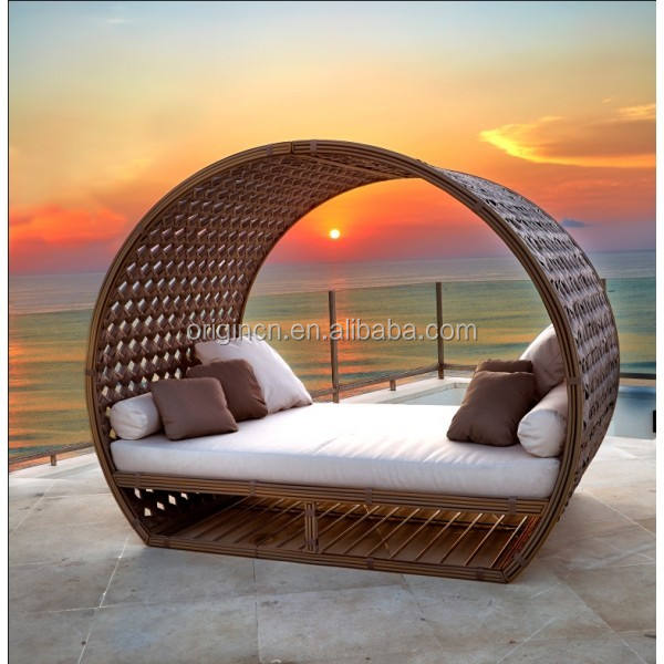 Retro chinese outdoor sunbed furniture import pool party synthetic rattan lazy lounger