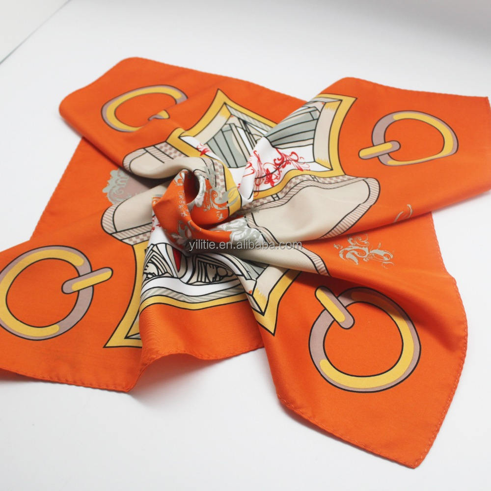 Wholesale custom design logo digital print silk scarf for women