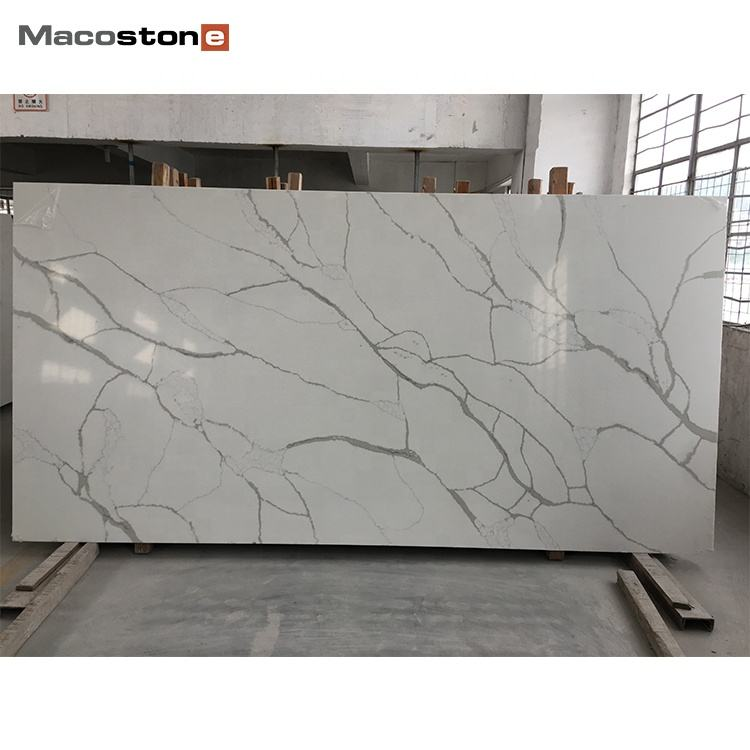 Factory Direct Sales Custom China Polished Calacatta White Quartz Stone Slabs for Kitchen Table Tops