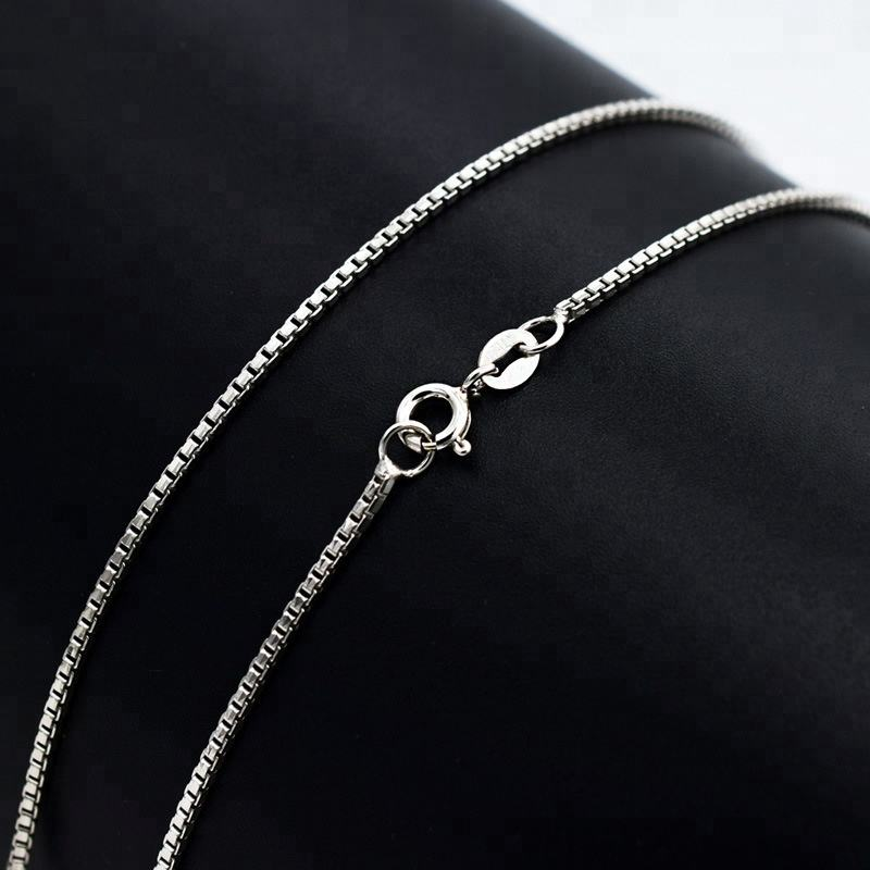 factory price chain real solid silver 100% 925 silver Italy box chain necklace for women 40-45CM length
