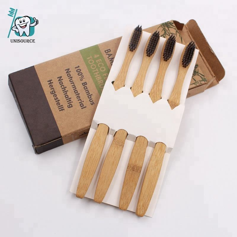 100% Biodegradable Environmental Cheap Wooden Charcoal Bamboo Toothbrush for Adult/Kids Use