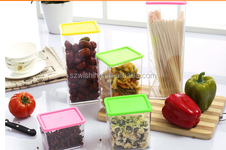 1230ml food grade BPA free square plastic canister/plastic container/plastic jar whole sale