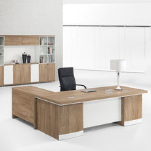 Modern MFC Wooden L Shaped Office Furniture Boss Ceo Manager Executive Corner Counter Working Table Desk With Set